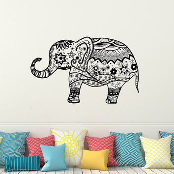 Indian Elephant Decals Wall Decals Bedroom Vinyl Sticker Yoga Studio Bohemian Bedding Boho Decor for Home T39