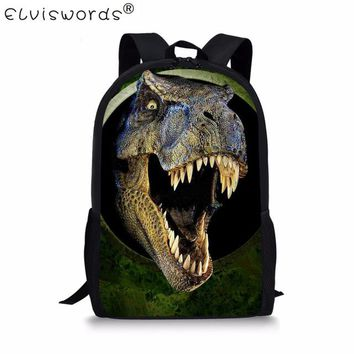 Boys Backpack Bag ELVISWORDS 3D Animal Zoo Kids Schoolbag Dinosaur Print School Bags For Teenager Book Bag Classic Casual Laege Bags Mochila AT_61_4