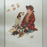 Pride of Parenthood - Norman Rockwell -  Puppy Love Suite 1958 - Limited Edition Hand Numbered 245/1200  17.5 x 22.5 Arches Paper