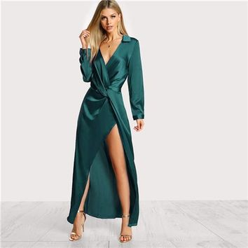 Collared Plunge Neck Satin V Neck Maxi Dress