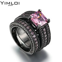 Black and Pink Crystal Ceramic Ring Women Engagement Promise Wedding Band Gifts For Women RB601