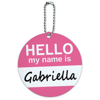 Gabriella Hello My Name Is Round ID Card Luggage Tag