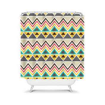 Shower Curtain Aztec Tribal Chevron Colorful Turquoise Yellow Red Geometric Pattern Bathroom Bath Polyester Made in the USA