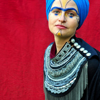 Grey Ethnic Necklace Shaman Jewelry Art Festival Collar Burning Man Clothing Art to Wear