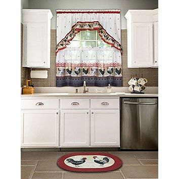 Ben&Jonah Collection Rooster - Printed Tier and Swag Window Curtain Set - 57x24 - Burgundy