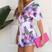 Amazon.com: SUNNOW Womens Summer Floral V Neck Short Sleeve Short Jumpsuit One Piece Set