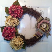 Grapevine Wreath - Spring Wreath - Summer Wreath - Hydrangea Wreath - Mother's Day Gift - Wreath - Rustic Wreath - Door Wreath - Door Decor