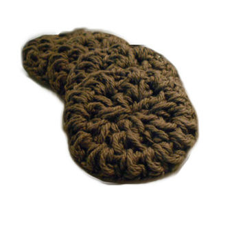 Cotton Face Scrubbies, Handmade, Eco Friendly Makeup Remover FaceCloth Set of 4, Dark Brown