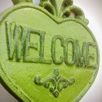Ornate Heart Welcome Sign Wall Art - Eden Olive Green - Shabby Chic Outdoor Decor