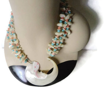 On Sale Miriam Haskell Signed Troca Shell Coral And Turquoise Bead Pendant Statement Necklace