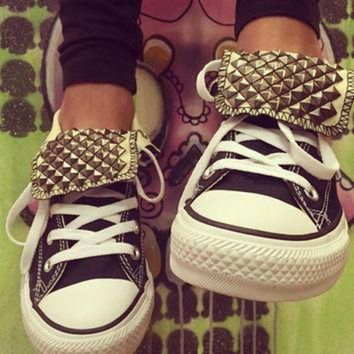 DCCK1IN custom gun metal studded converse all star chuck taylor high tops all sizes colo