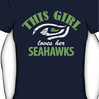 "This Girl Loves her Seahawks"" Funny Womens Seattle SeaHawks T-shirt S-"