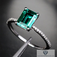Emerald Engagement Ring Diamond Pave White Gold Emerald Cut
