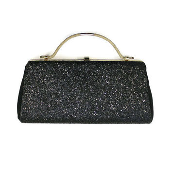 Vintage 1960's Black Glitter Evening Bag With Gold Handle And Accents