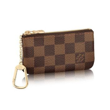 CREYV2S Louis Vuitton Damier Canvas Key Pouch Key Ring N62658 Made in France