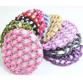 10pcs/lot New Style Plain Colour Rhinestone Crochet Hair Snood Bun Cover Hairnet Ballet Dance Skating Mesh Bun Cover For Women