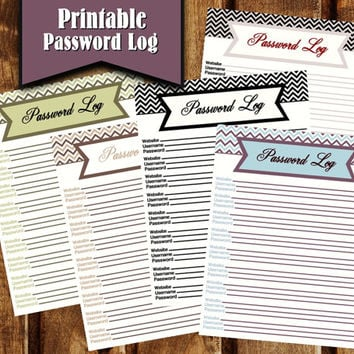 5 Printable Password Log Templates - Chevron Password Organizer - Internet Password Keeper - INSTANT DOWNLOAD - Online Password Tracker