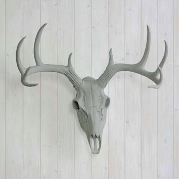 The Large Gray Faux Taxidermy Resin Deer Head Skull Wall Mount | Gray Deer Head w/ Colored Antlers
