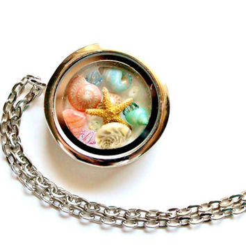 Terrarium Necklace Beach Jewelry Glass Locket Starfish Seashells Crystals