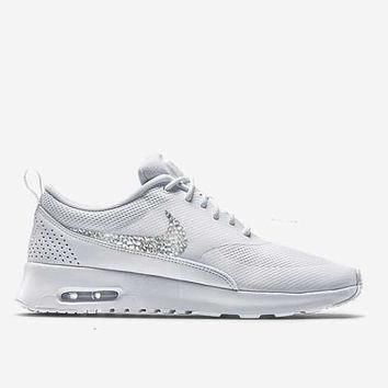 Women's Air Max Thea All White Blinged Nikes, Bling Running Training Shoes Customized