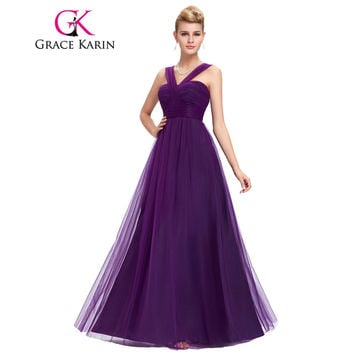 Grace Karin Evening Dress Soft Tulle Purple Elegant Long Formal Evening Gowns Backless Empire Waist Dinner Dresses Party Fashion