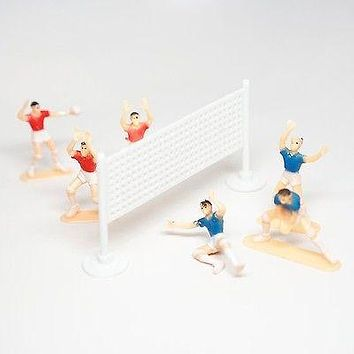 Volleyball Team Cake Topper 6 Players and Net Plastic