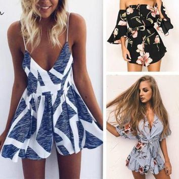 CREYCI7 2017 Casual Women Rompers and Jumpsuit Sexy Playsuits Strapless Fashion print chest Summer Shorts Bodysuits
