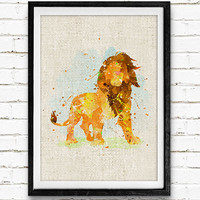 Lion King Watercolor Print, Disney Baby Boy Nursery Decor, Wall Art, Home Decor, Gift Idea, Not Framed, Buy 2 Get 1 Free!