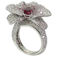 CARTIER Caresse D'Orchidees White & Pink Diamond Ruby Ring GIA