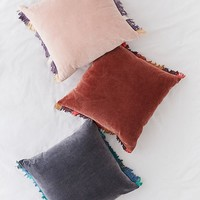 Veronica Velvet Fringe Throw Pillow | Urban Outfitters
