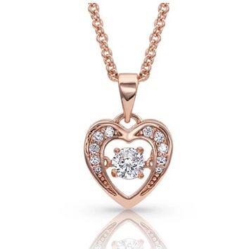 Montana Silversmith ~ Let's Dance A Little Dance Rose Gold Heart Necklace