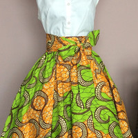 Ankara/African Print Midi Flare Women Skirt with a belt all sizes
