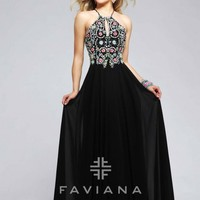 Faviana Glamour S7720 Beaded Prom Gown with Keyhole