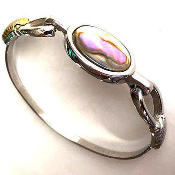 "Avon Abalone Shell Bracelet Signed Clamper Style Silver Gold Metal 7"" Vintage"