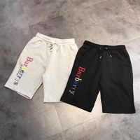 """Burberry"" Unisex Casual Fashion Rainbow Letter Embroidery Shorts Leisure Pants Couple Sweatpants"