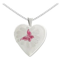 Sterling Silver Butterfly Heart Locket Pendant Necklace, 18""