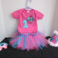 1st Birthday Baby Girls Birthday Outfit Tutu Set Hot Pink Turquoise With Headband And Party Hat By Sweetpeas Bows & More