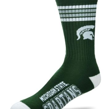 For Bare Feet Adults' Michigan State Spartans 4-Stripe Deuce Socks