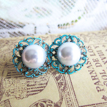 Tiffany Turquoise Wedding Jewelry Pearl Earrings Aqua Blue Mint Sea Foam Bridesmaids Gift Bridal Bride Post Studs