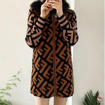 FENDI Autumn Winter Newest Fashion Women Warm Double F Letter Jacquard Mohair Knit Long Sleeve Hoodie Cardigan Sweatshirt Jacket Coat