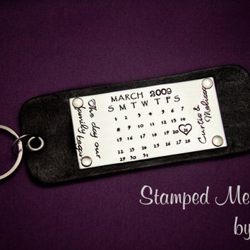 The Day Our Family Began - Hand Stamped Calendar Key Chain - Leather and Stainless Steel - Anniversary Gift, Wedding Keepsake - Personalized