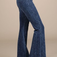 Chatoyant Mineral Wash Flare Pants in Electric Blue