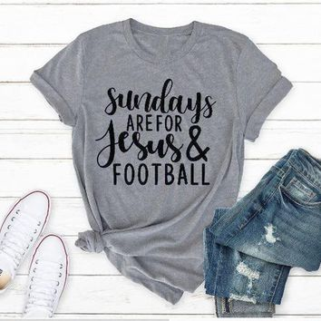 Sundays are for Jesus and football T-Shirt Lover Jesus and Football Boy Tee Gift Cotton Outfits Casual Stylish Christmas Jesus