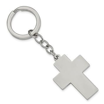 Engravable Polished Cross Key Chain in Stainless Steel