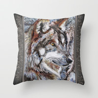 Gray Wolf Watches and Waits Throw Pillow by JMcCombie