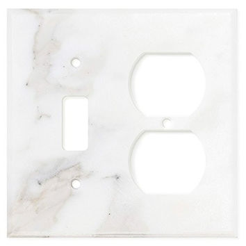 Italian Calacatta Gold Marble Toggle Duplex Switch Wall Plate / Switch Plate / Cover - Honed