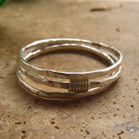 Silver Hammered Silver Wrapped Stacking Ring Set