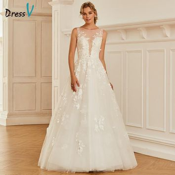 Dressv Long Bateau Neck Ball Gown Wedding Dress Sleeveless Tulle Lace Button Dream Church Garden Princess Wedding Dresses