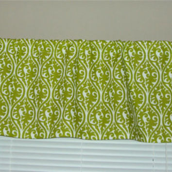 50x14 Green Damask Print Cotton Valance Window Treatment