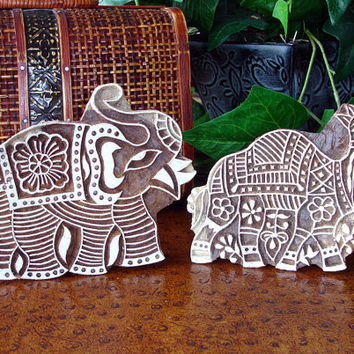 Elephant and Camel Stamps: Hand Carved Wood Stamp Set, Indian Printing Block, Ceramic Tile Pottery Stamp, India Wall Decor